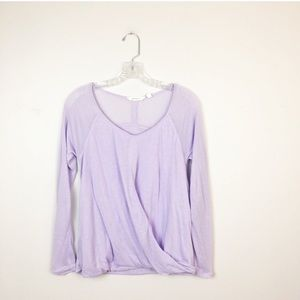 Athleta wrap front long sleeve workout top lilac